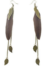 F1934 fashion brown Feather bronze leaf chain light dangle earrings New