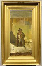 1870's primitive naive oil folk art painting Provide RI Rhode Island Opera House
