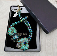 """NWT $340 HEIDI DAUS """"On Lily Pond"""" Waterlily Crystal Beaded Necklace BLUE"""