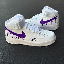 Custom Nike Air Force 1 White Mid Size 8 Purple Reign Tour DS2