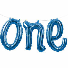 "Letter Balloon ""One"" 1st Birthday Party Boys Blue Foil Balloon"