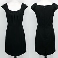 Karin Stevens Vintage Sheath Dress Women's Size 4P Cap Sleeve Pleated Black