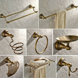 Antique Brass Carved Bathroom Hardware Bath Accessories Set Towel Rack Holder
