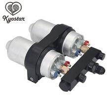 New 2x 044 High Flow External Fuel Pump + Black Dual Bracket & Out Manifold AN6