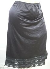 EUC Vintage Movie Star SNIP IT SLIP Black lace sheer nylon Plus size 26 28 4X