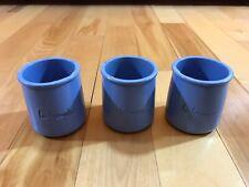 (3) La Fermiere Periwinkle Blue Terra Cotta Pottery Yogurt Pots oven micro safe