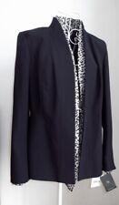 NWT LIZ CLAIBORNE Black Jacket/Silk Leopard Print 'Mock' Shirt & Cuffs UK Size 8