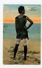 """""""Unique Bathing Costume"""" Antique PANAMA CITY Woman Girl Beach Suit 1910s"""