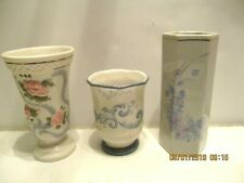 3 White Porcelain Floral Vases Scroll Design Springmaid Princess House Italian