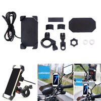 "7/8"" Handlebar Motorcycle Adjustable Phone Mount Holder Charger With Accessories"