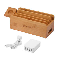 Bamboo Device Organizer Stand Charging Station USB Dock For Phone Tablet Storage