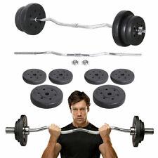 23.5kg EZ Weight Lifting Curl Bar Dumbbells Barbells Set Spinlock Collars UK