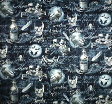 Wicked Skulls Ravens Bats Timeless Treasures Cotton Quilting Fabric 1/2 metre