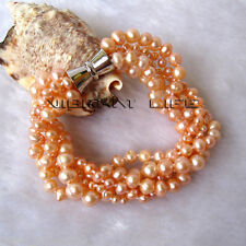 """Pearl Bracelet Magnetic Clasp Ac 8"""" 3-7mm Peach Pink 5Row Freshwater"""