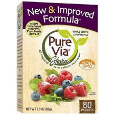 PureVia Stevia All Natural Zero Calorie Sweetener Packets 80 ea