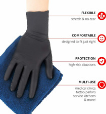 50 100 or 300 Black Nitrile-PVC & Latex free Gloves Size M L XL XXL 2XL in stock