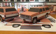 Papercraft 1980 Chevrolet Suburban 2 tone colors PaperCar EZU-build ToyModelCar