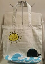 Sleepyville Critters Whale and Sun Beige Tote Bag (A53)