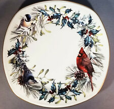 """3 Lenox Square Christmas Luncheon Plates """"Winter Greetings"""" by Catherine McClung"""
