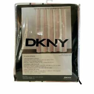 """DKNY Rose Plaza Stripe Shower Curtain 72"""" x 72"""" White and Rose Dusty Pink NEW"""