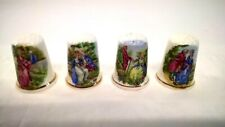 Collection Bone China Thimbles Birchcroft China - Old Fashioned Ladies & Men x 4