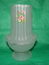 Vintage Fairy Lamp Frosted Candle Light With Floral Rose