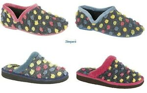 Ladies Slippers Spotted Knit Sleepers Spotted Multicoloured Size 3-9