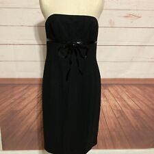 Maggy London black cocktail dress strapless lined Size 12 beaded bow zipper