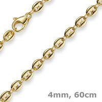 4mm Kette Collier Bohnenkette Schiffsankerkette 585 Gold Gelbgold 60cm Unisex