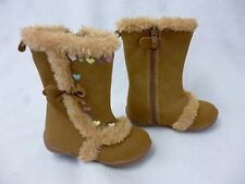 KOALA KIDS TAN LIGHT BROWN FAUXE SUEDE FUR HEARTS BOW BOOTS INFANT BABY GIRL 6