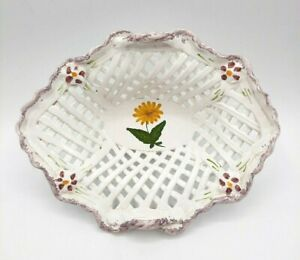 Portugal Pottery White Basket Weave Hand Painted Flowers