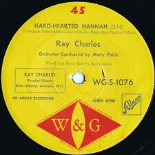 Ray Charles ORIG OZ 45 Hard-hearted Hannah VG+ '61 W&G WGS1076 Soul Jazz Blues