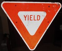 Vintage/Used Large 44 x 39 YIELD Aluminum Road/Highway/Street Sign Man Cave S408