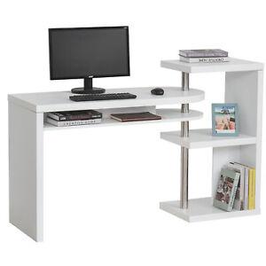 HOMCOM Eckschreibtisch Computertisch Schreibtisch mit Regal L/I-Form Weiß