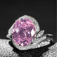 3Ct Oval Cut Pink Sapphire Diamond Bridal Engagement Ring 14K White Gold Finish