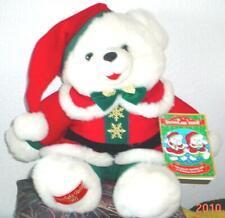 "1995 WalMART CHRISTMAS Snowflake TEDDY BEAR White Boy 22"" Red/green Outfit nice"