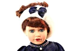 """16"""" Porcelain Doll Vintage Bk Victorian Seasons Ice Skater with tag and stand"""