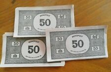 MONOPOLY PAPER MONEY: 16 x £50 BANK NOTES - SPARES / REPLACEMENTS. Vintage VGC.