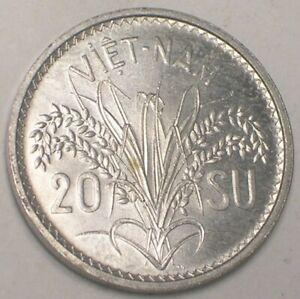 1953 Viet Nam Vietnamese 20 Su Rice Coin XF+
