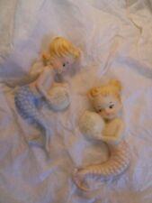 2 Vintage Norcrest Ceramic Mermaids w/Bubbles Wall Plaques Japan Excellent