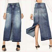 SALE Denim Ribbed Slit Distressed Long Skirt Size XS UK 6 US 2 Blogger ❤