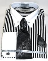 Fratello Dress Shirt w/Tie and Cufflinks Bold Striped White/Black  FRV4146P2