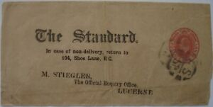 Edward VII: 1d red 'The Standard' Wrapper; 'FS S1' cancellation to Lucerne.
