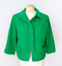 Vtg 50s 60s Deep Emerald Green Tweed Cropped Jacket Blazer Pockets L