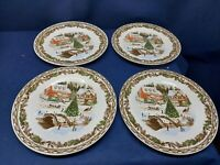 "Gibson Home Designs ""Christmas Toile"" Set/4 Dinner Plates Town Scene Beautiful!"