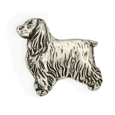 English Cocker Spaniel, silver covered pin, high qauality Art Dog Ca