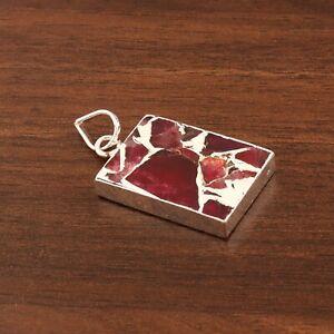 Gorgeous Copper Ruby Color Jade Quartz Silver Electroplated Necklace Pendant