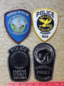 4 Virginia Police Patches : Covington, Salem, Fairfax & Pearisburg