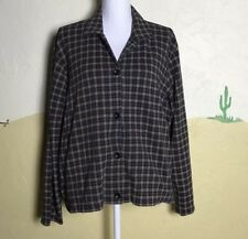Liz Claiborne Womens XL Button Up Top Plaid Black Yellow Long Sleeve