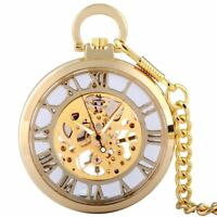 Open Face Vintage Windup Mechanical Golden Pocket Watch Chain Fob Skeleton Retro